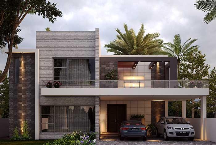 Mescle materiais e cores com harmonia na fachada da casa, e se não quiser se arriscar, opte pelos tons neutros
