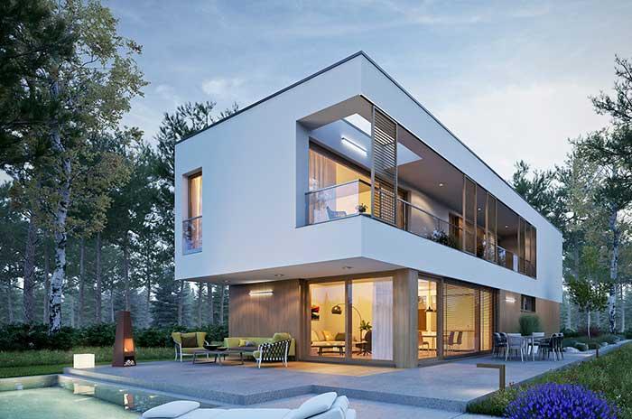 Casa com piscina traz uma fachada que valoriza o convívio e momentos ao ar livre