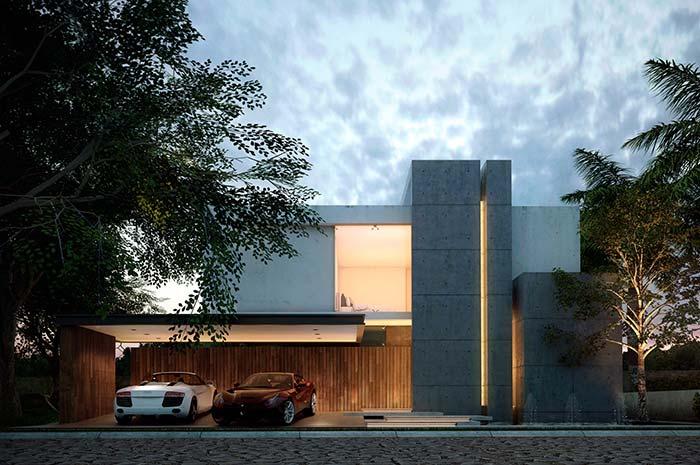 Fachada de casa com estrutural de concreto central
