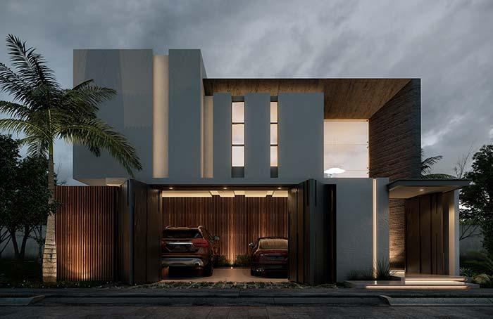fachada de casa com portão dobrável, madeira e alvenaria