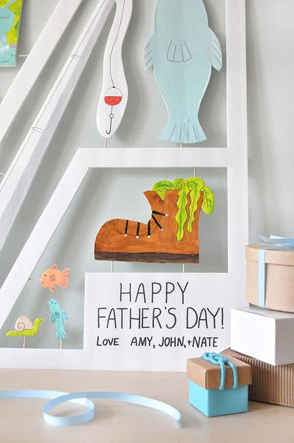 Um mural desenhado como lembrança do dia dos pais