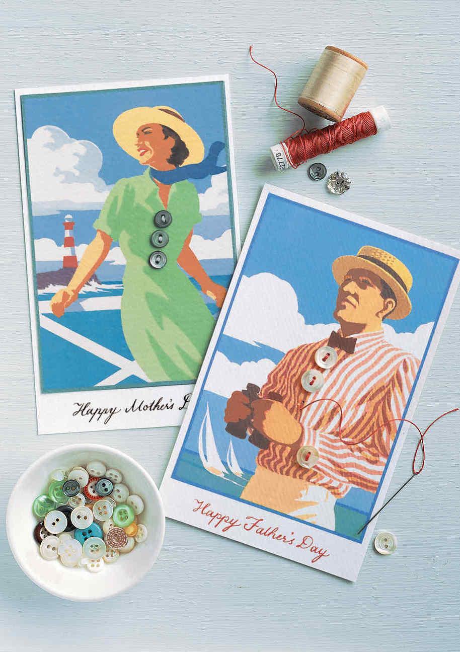 No clima de nostalgia, par de cartões no estilo anos 20 como lembrança para o dia dos pais e das mães