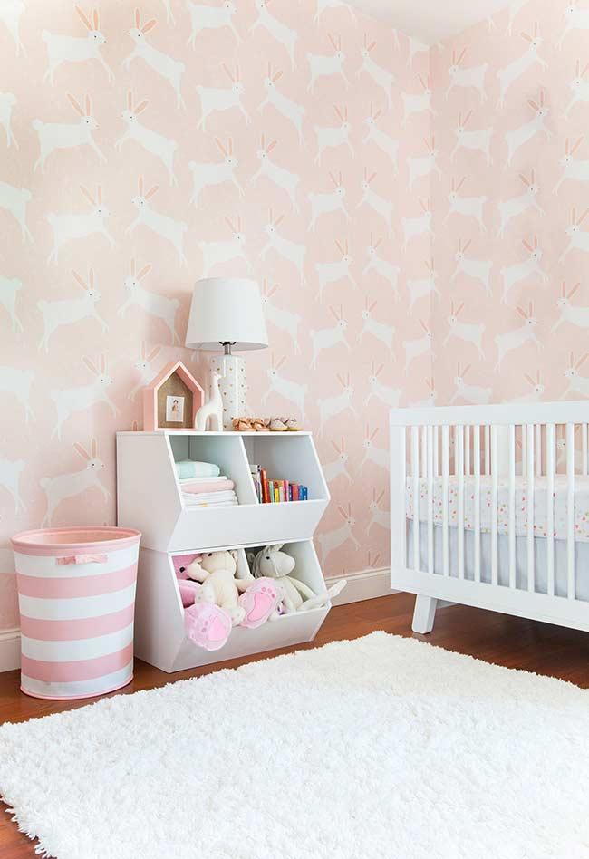 Papel de parede para quarto de bebê feminino com coelhinhos