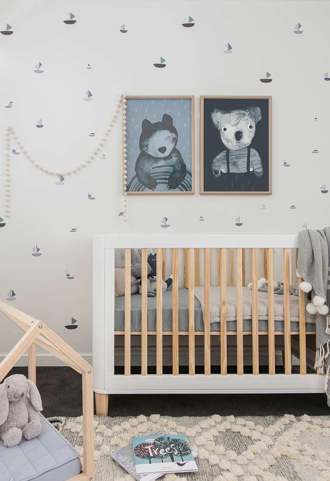 Papel de parede para quarto de bebê minimalista