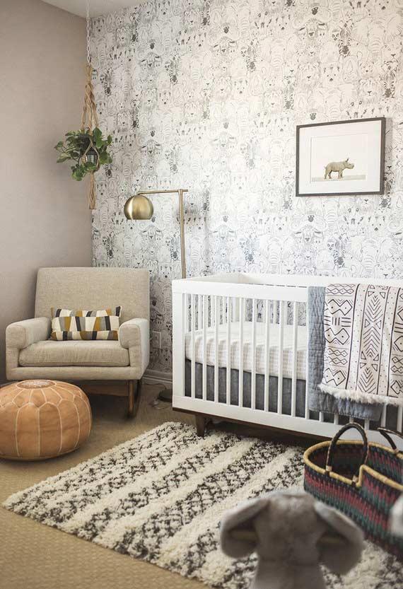 papel de parede para quarto de bebê estampado