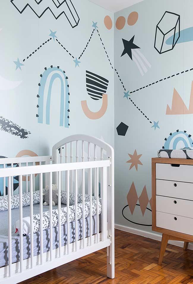 papel de parede para quarto de bebê com desenhos grandes