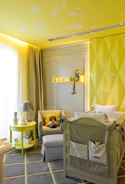 papel de parede para quarto de bebê amarelo