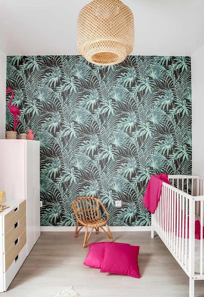 papel de parede cheio de folhas de palmeiras