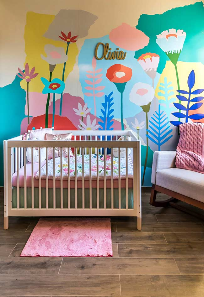 papel de parede super divertido e alegre no clima da primavera para um quarto de bebê feminino