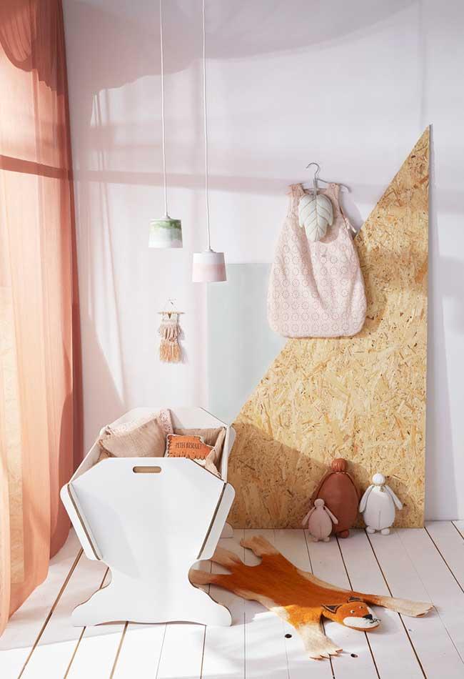 Uma ideia rústica e contemporânea para o quarto do bebê