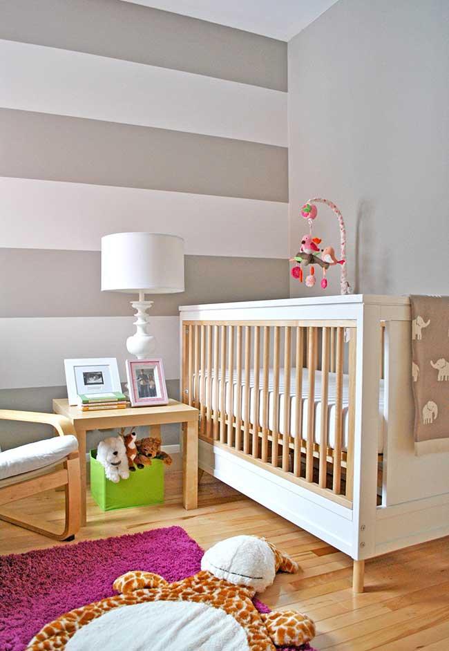 Listras também para paredes de quartos de bebê menina