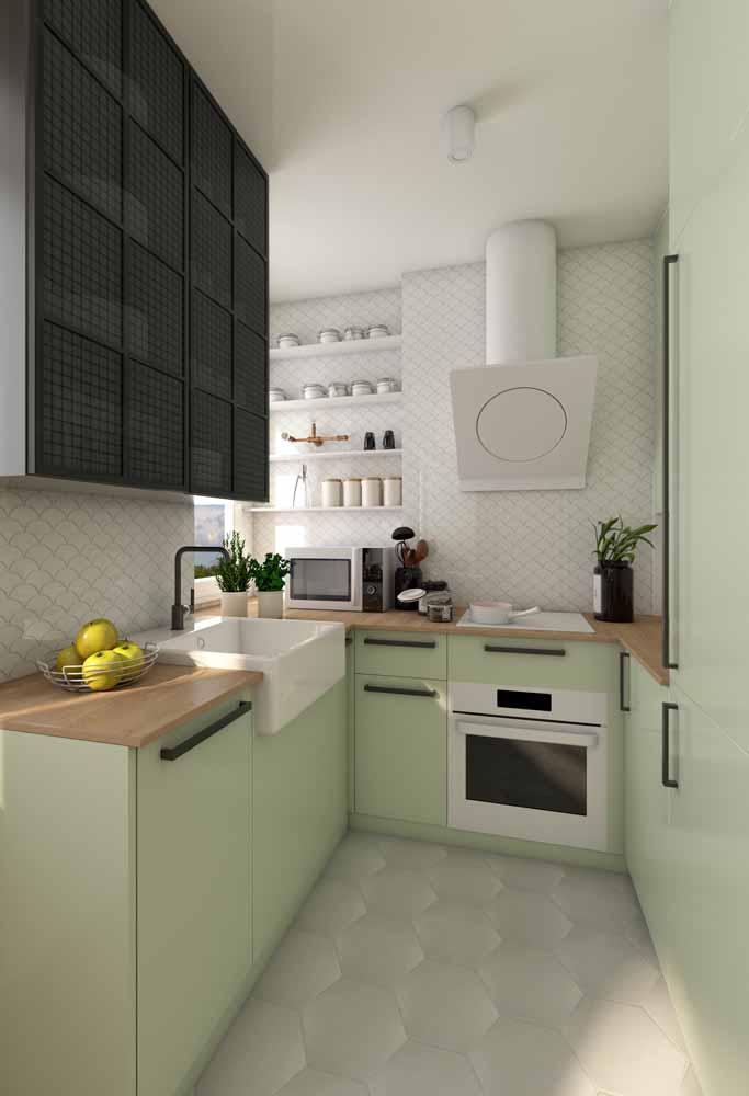 Espaço pequeno de cozinha verde claro: um tom para trazer mais sutileza e relaxamento para o ambiente