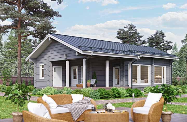 Casa de madeira combina - e muito - com portas e janelas brancas