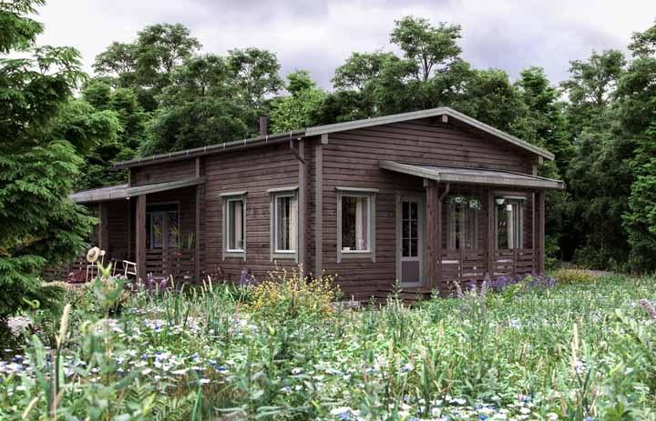 Muitas janelas para valorizar a iluminação natural dentro da casa de madeira