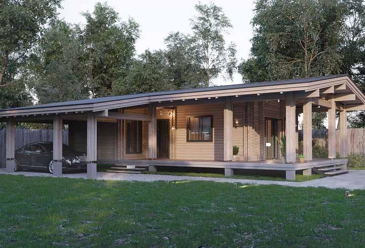 Um típico modelo de casas de madeira pré-fabricadas