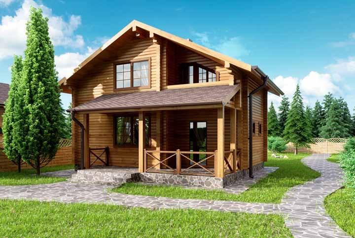 A estrutura dessa casa de madeira foi feita com pedras