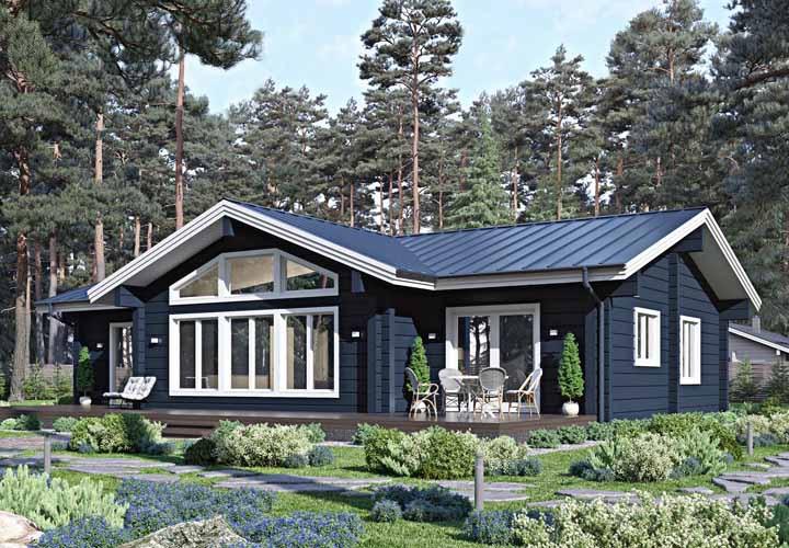 Para deixar a casa de madeira ainda mais bonita, um belo jardim na entrada da casa
