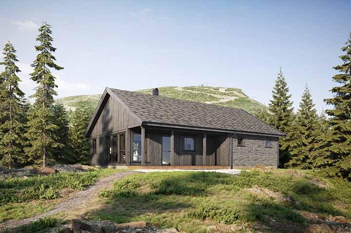 Casa de madeira nas montanhas; o conforto térmico que ela proporciona é ideal para regiões altas e frias
