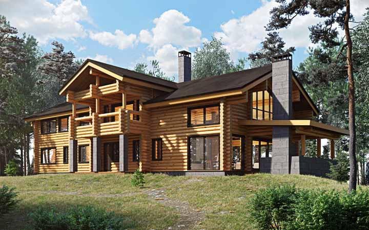 Se você busca por um modelo de casa de madeira amplo e espaçoso, inspire-se nesse aqui