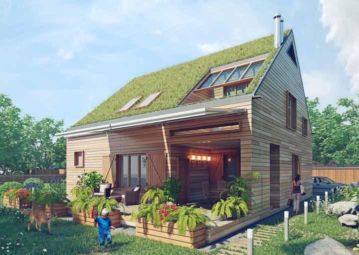 Essa casa é o sonho de quem é apaixonado por conceitos sustentáveis: madeira, telhado verde e muita iluminação natural
