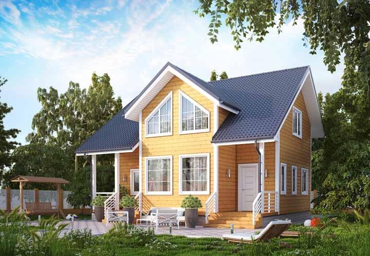 Essa casa de madeira apostou em janelas com formato diferenciado para fugir do comum
