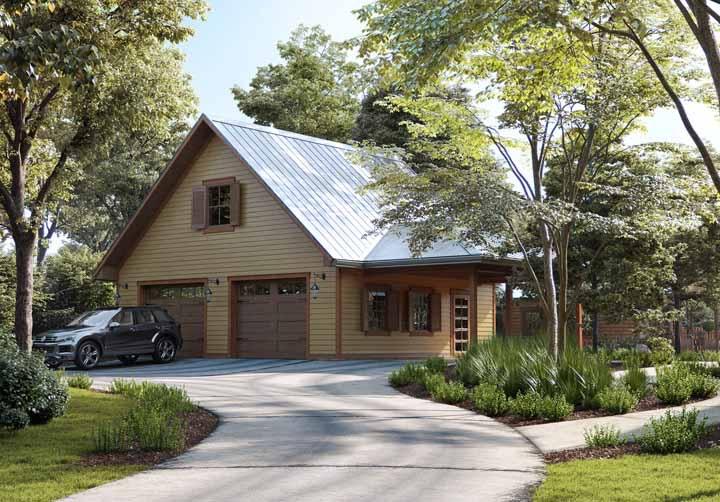 Casa de madeira com garagem, afinal, ela precisa atender todas as necessidades dos moradores