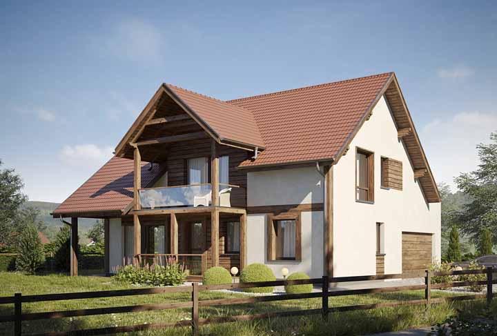 Nessa casa de alvenaria, a madeira foi usada em pontos estratégicos com o objetivo de valorizar a arquitetura
