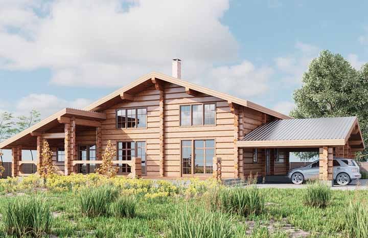 A garagem dessa casa de madeira possui uma estrutura própria que segue o mesmo padrão do restante da construção