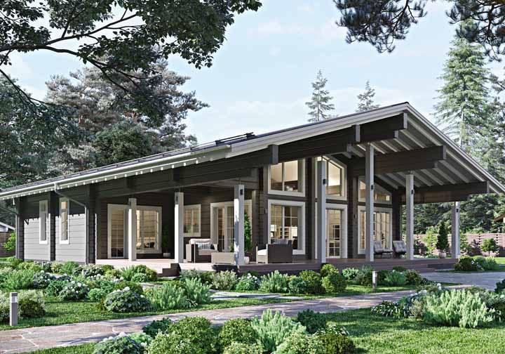 Valorize as áreas externas da casa de madeira