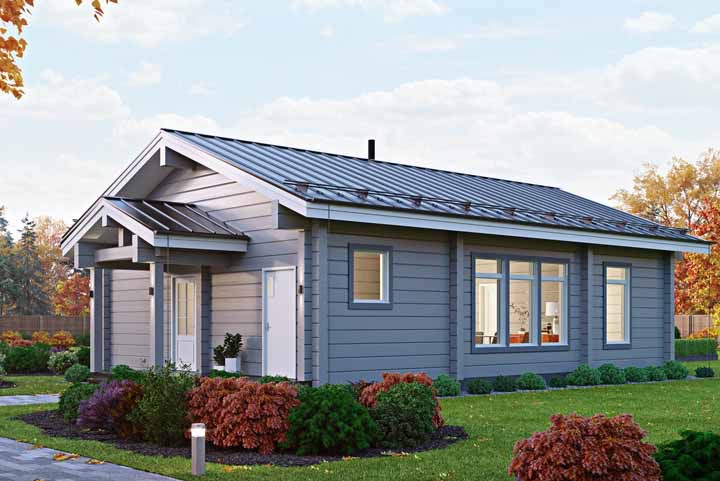 Os detalhes de uma casa de madeira são essenciais para a beleza do conjunto, nessa casa, o detalhe é o telhadinho sobre a porta de entrada
