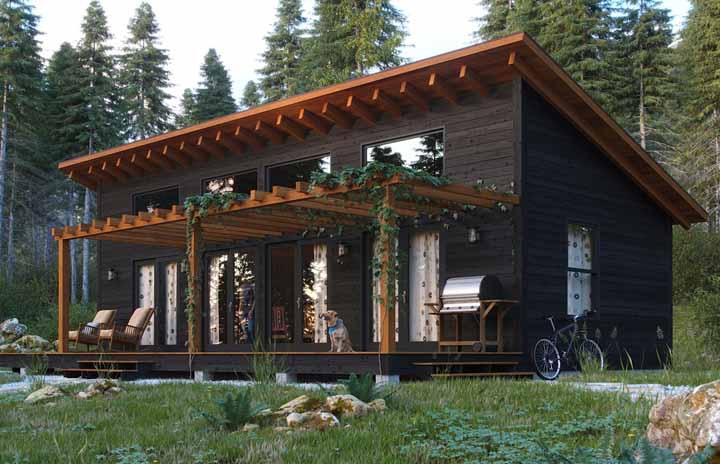 Essa casa de madeira pequena apostou em um pergolado com plantas para deixar o projeto mais bonito e original