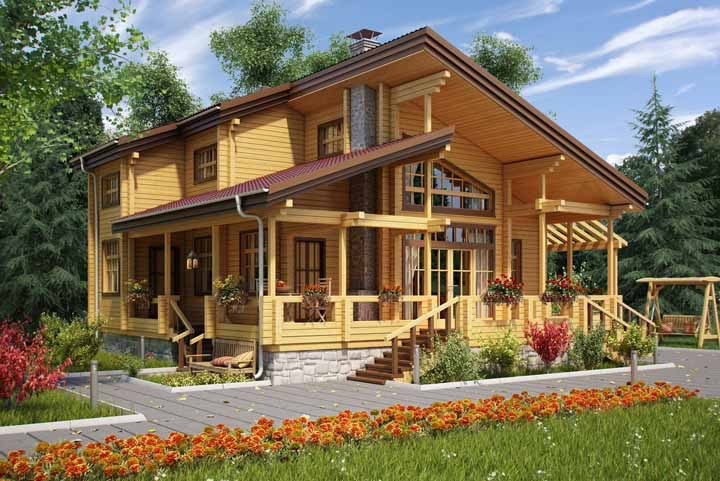 Amarela, espaçosa e de madeira, é claro!