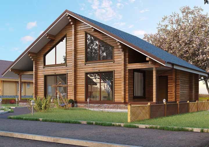 Casa branca com telhado preto: estrutura e cores clássicas para a casa de madeira