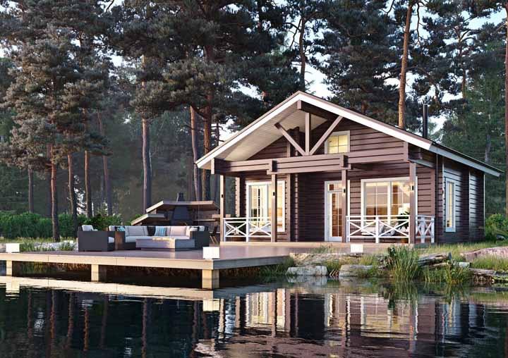 Mais um modelo de casa de madeira para você ficar sonhando acordado