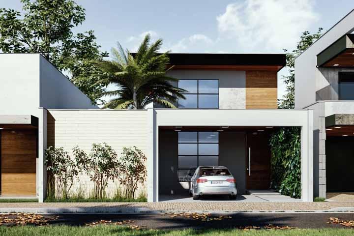 Não deixe de planejar a garagem da casa de acordo com o restante da fachada, esse é um espaço muito importante e que deve ser visto com carinho