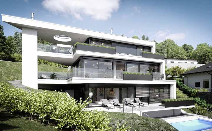O clássico preto e branco na fachada da casa: não tem como errar