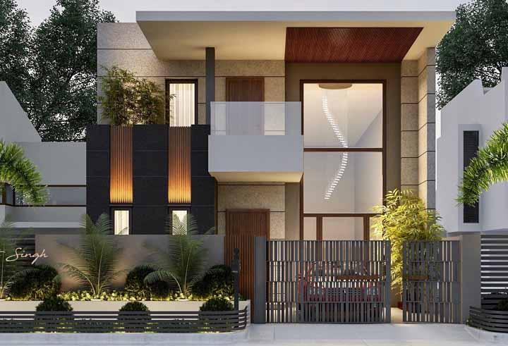 Combine funcionalidade com beleza, como é o caso desse portão automático na entrada da casa