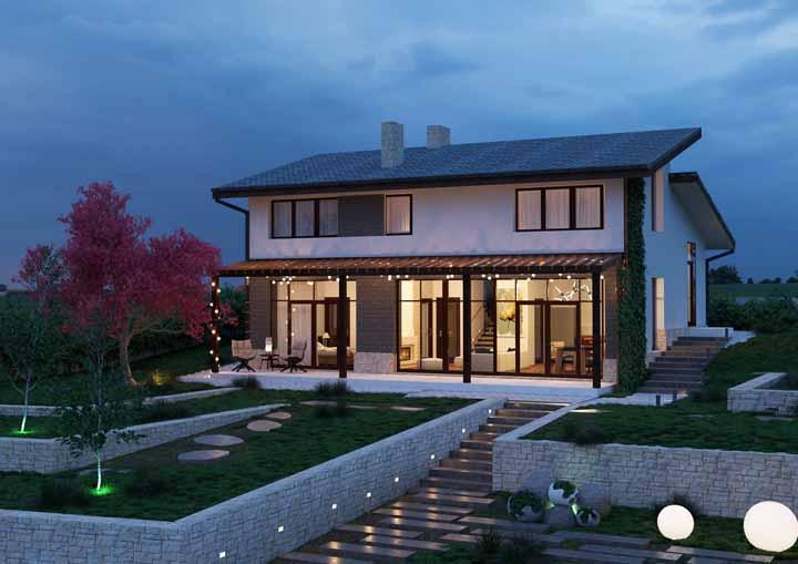 Além de bonita, a casa pode ser charmosa; para isso, invista em um varal de lâmpadas na fachada