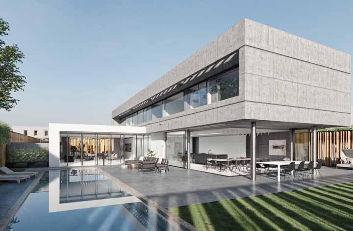 Concreto aparente e estrutura metálica, mas nem por isso a casa deixou de ser bonita e confortável