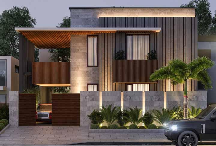Plantas e madeira: combinação de elementos naturais é sucesso garantido na fachada da casa