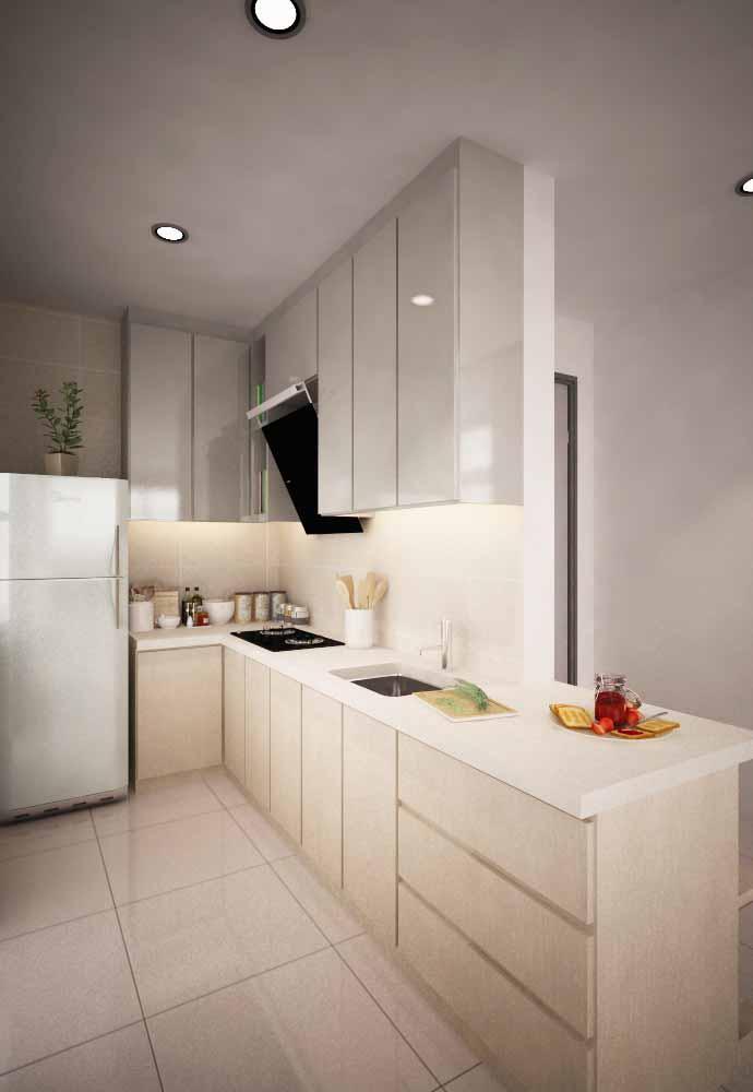 Cozinha simples em L em um estilo clean: cores claras e organização perfeita para o espaço