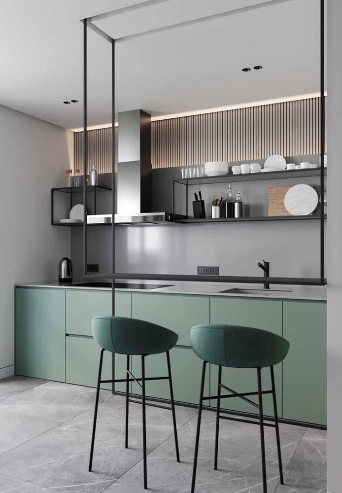 Decoração minimalista com tons de verde e preto
