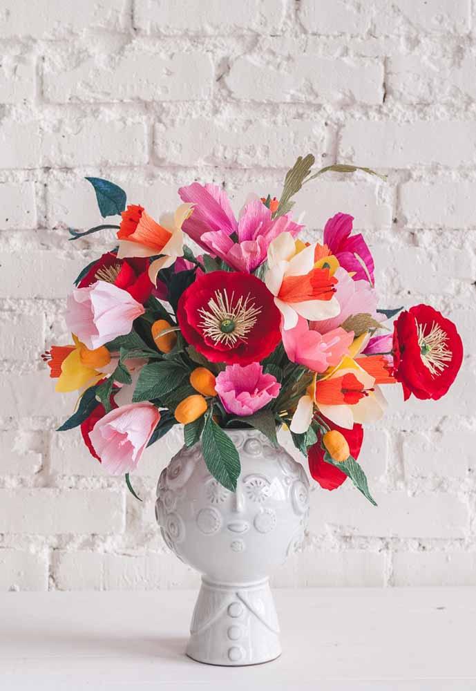Flores De Papel 60 Ideias, Fotos E Como Fazer Passo A Passo -> Decoração De Festa Com Papel Crepom Passo A Passo