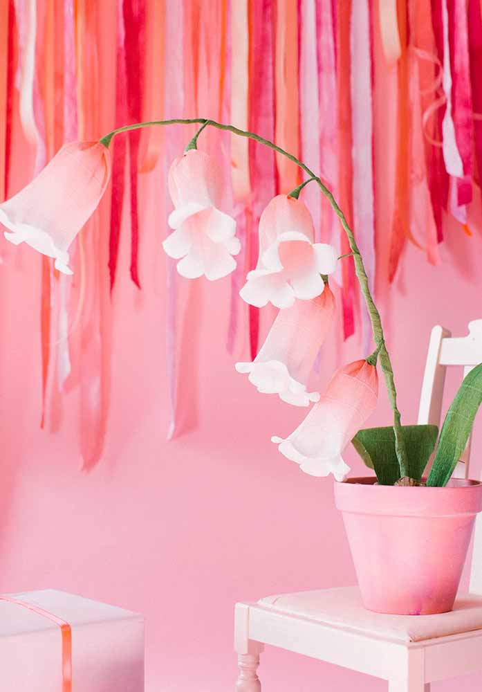 Flor de papel Campânulas, linda para decorar chás de bebês ou quarto de meninas