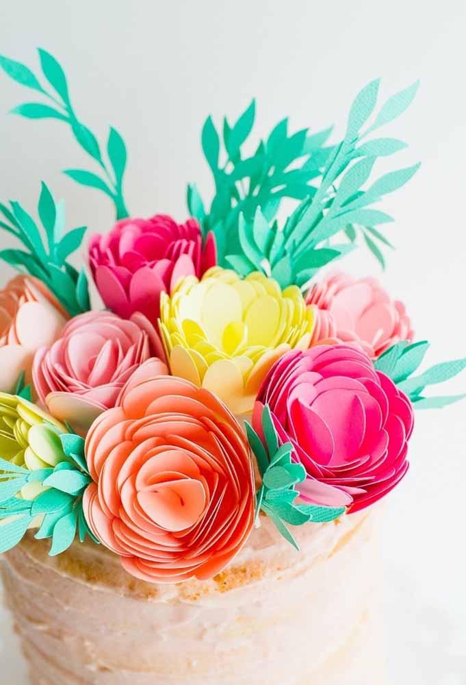 Flores de papel color set ou cartolina bem colorida para uma decoração alegre