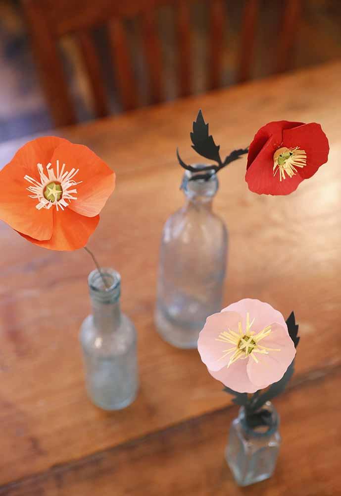 Flores de papel: Coloque em vidrinhos para mais fofura e delicadeza