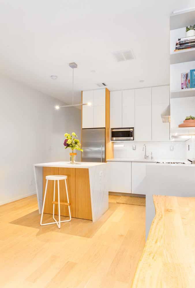Modelo de cozinha simples, integre harmoniosamente os ambientes da sua casa