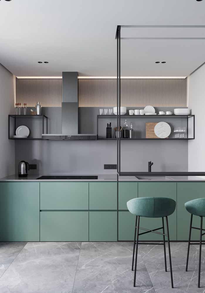 Cozinha compacta com elementos do estilo industrial
