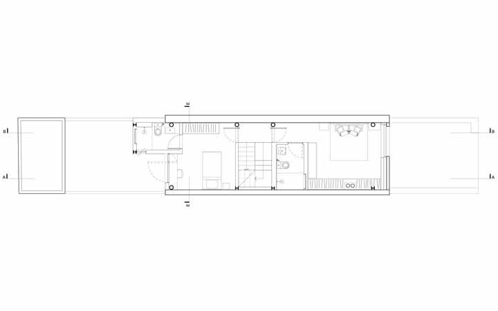 Já o segundo pavimento foi reservado para os espaços íntimos, como os quartos