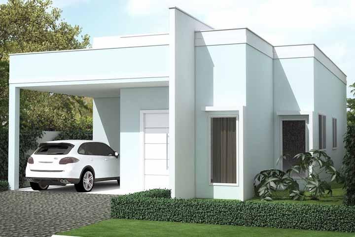 As linhas retas e o branco marcante da fachada caracterizam esse projeto do escritório Arch Progetti